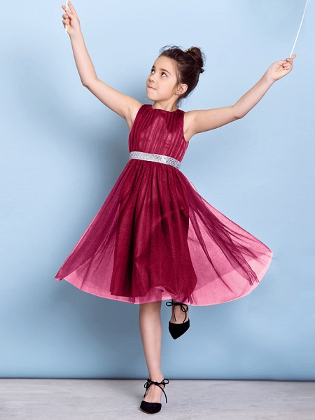 A-Line Jewel Neck Knee Length Tulle Junior Bridesmaid Dress With Sash / Ribbon / Sequin / Draping / Natural_21