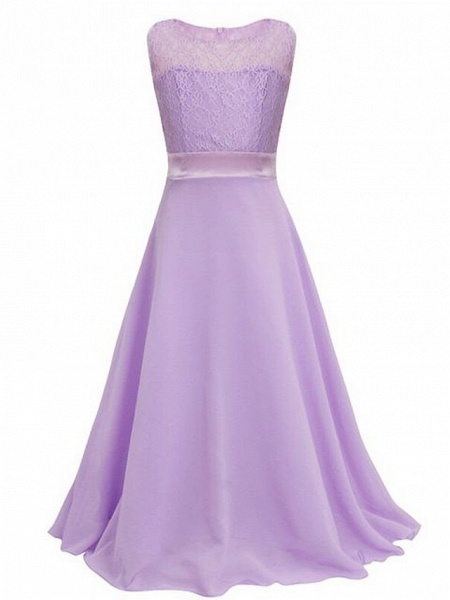 A-Line Floor Length Wedding / Party Flower Girl Dresses - Chiffon / Lace Sleeveless Jewel Neck With Sash / Ribbon_3