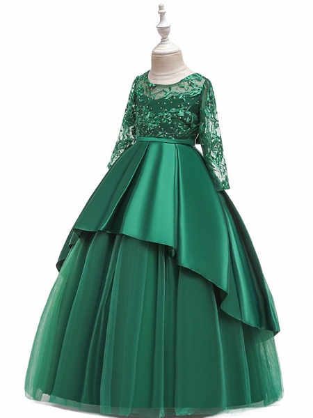 Princess Floor Length Wedding / Party / Pageant Flower Girl Dresses - Lace / Satin / Tulle Long Sleeve Jewel Neck With Lace / Belt / Crystals_7