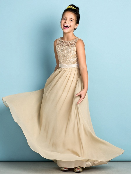 A-Line Scoop Neck Floor Length Chiffon / Lace Junior Bridesmaid Dress With Lace / Natural / Mini Me