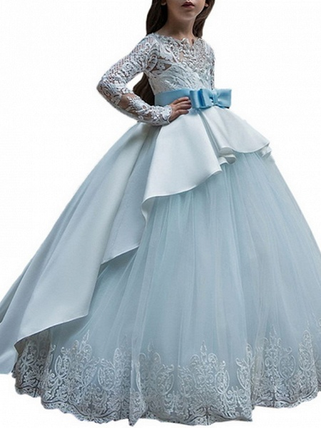 Ball Gown Court Train Party / Birthday Flower Girl Dresses - Poly Long Sleeve Jewel Neck With Lace / Bow(S) / Appliques_3