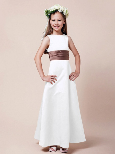 Princess / A-Line Bateau Neck Floor Length Satin Junior Bridesmaid Dress With Sash / Ribbon / Ruched / Spring / Summer / Fall / Winter / Apple_16