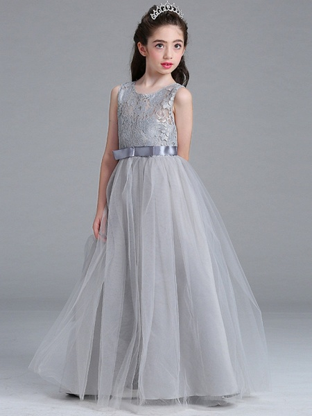 A-Line Round Floor Length Cotton Junior Bridesmaid Dress With Lace / Bow(S)_4
