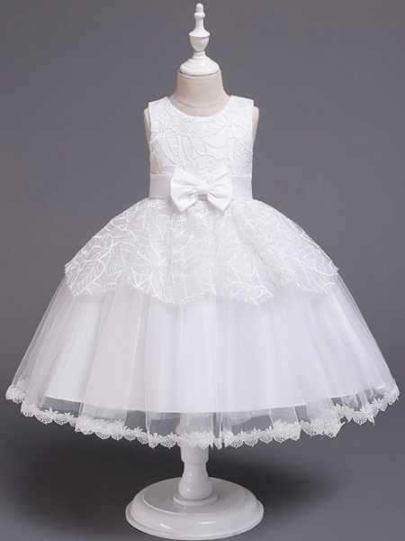 Princess / Ball Gown Floor Length Wedding / Party Flower Girl Dresses - Tulle Sleeveless Jewel Neck With Sash / Ribbon / Bow(S)_4
