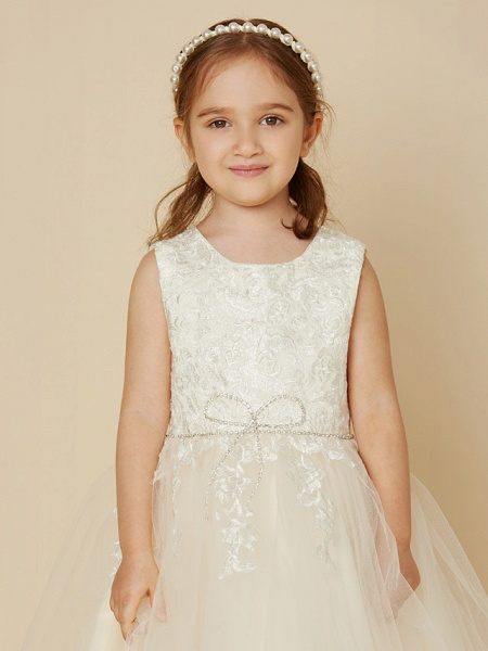 A-Line Knee Length Wedding / First Communion Lace / Tulle Sleeveless Jewel Neck With Beading / Appliques_5