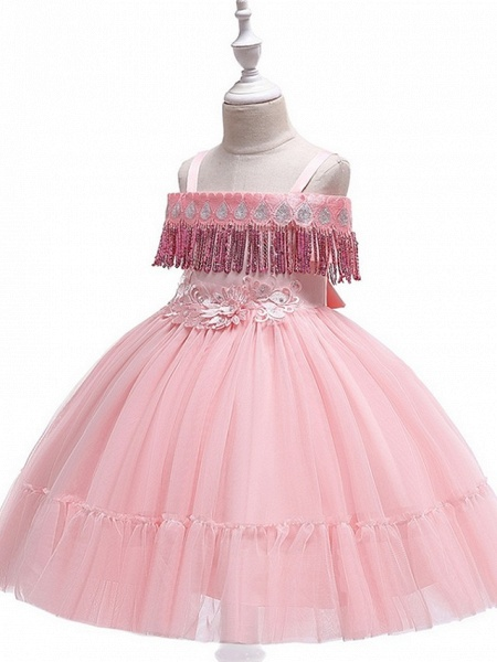 Princess / Ball Gown Knee Length Wedding / Party Flower Girl Dresses - Tulle Short Sleeve Off Shoulder With Bow(S) / Pleats / Beading_4