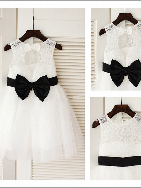 A-Line Tea Length Wedding / First Communion Flower Girl Dresses - Lace / Satin / Tulle Sleeveless Jewel Neck With Belt_3