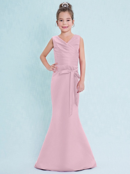 Mermaid / Trumpet V Neck Floor Length Satin Junior Bridesmaid Dress With Criss Cross / Natural_11