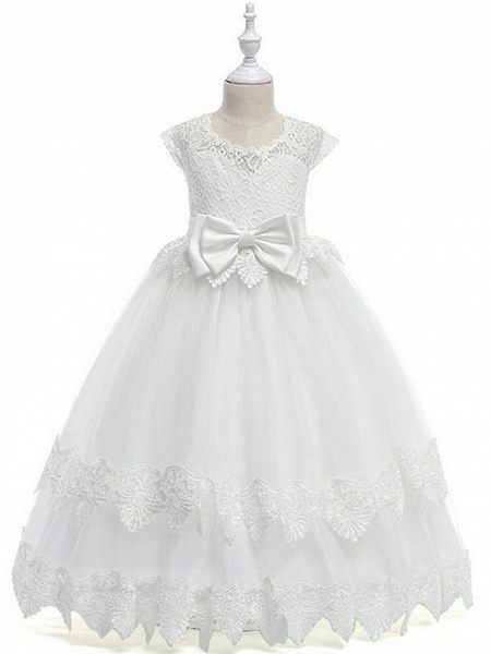 Princess / Ball Gown Ankle Length Wedding / Party Flower Girl Dresses - Tulle Cap Sleeve Jewel Neck With Bow(S) / Tier / Appliques_3