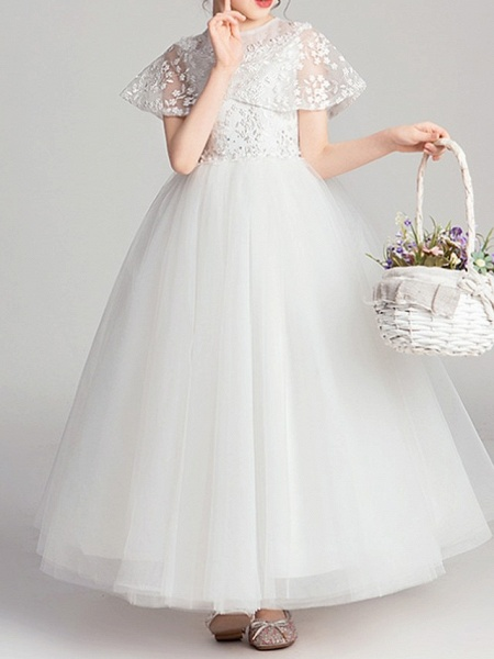 Ball Gown Ankle Length Pageant Flower Girl Dresses - Polyester Short Sleeve Jewel Neck With Appliques_5