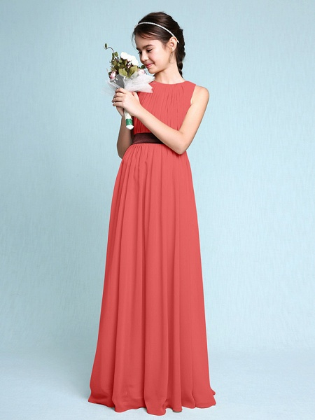 Sheath / Column Scoop Neck Floor Length Chiffon Junior Bridesmaid Dress With Draping / Natural_14