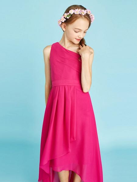 A-Line One Shoulder Asymmetrical Chiffon Junior Bridesmaid Dress With Sash / Ribbon / Bow(S) / Side Draping / Natural_8