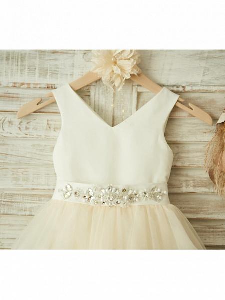 Ball Gown Knee Length Wedding / Birthday / Pageant Flower Girl Dresses - Satin / Tulle Sleeveless V Neck With Bows / Belt / Beading_3