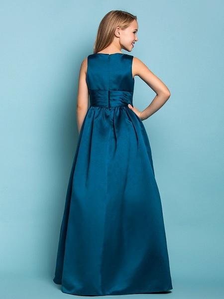 Princess / A-Line V Neck Floor Length Satin Junior Bridesmaid Dress With Sash / Ribbon / Criss Cross / Spring / Summer / Fall / Apple / Hourglass_4