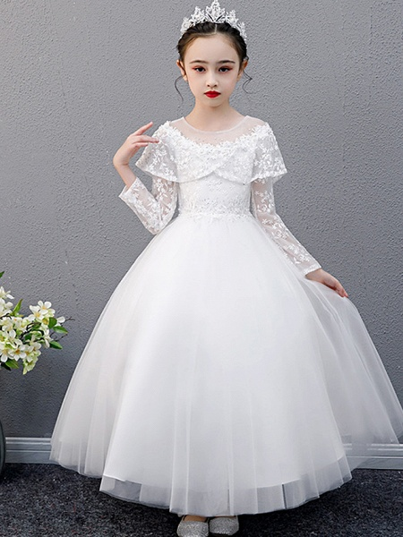 A-Line Ankle Length Christmas / Birthday Flower Girl Dresses - Lace Sleeveless Jewel Neck With Beading_6
