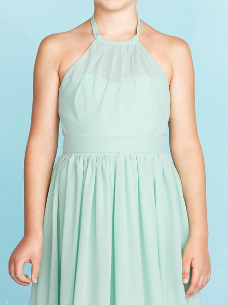 Princess / A-Line Halter Neck Floor Length Chiffon Junior Bridesmaid Dress With Sash / Ribbon / Pleats / Wedding Party / Open Back_8