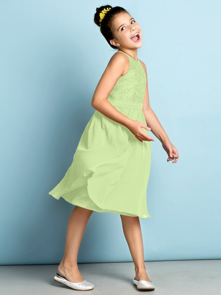 A-Line Jewel Neck Knee Length Chiffon / Lace Junior Bridesmaid Dress With Lace / Natural / Mini Me_39