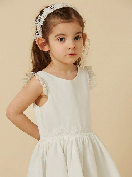 Princess Knee Length Wedding / First Communion Flower Girl Dresses - Lace / Cotton Sleeveless Scoop Neck With Pleats_6