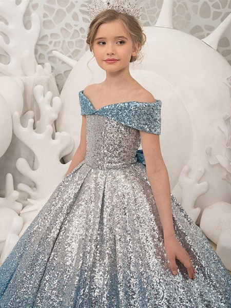 Princess / Ball Gown Sweep / Brush Train Wedding / Party Flower Girl Dresses - Sequined Short Sleeve Off Shoulder With Bow(S) / Pleats_3