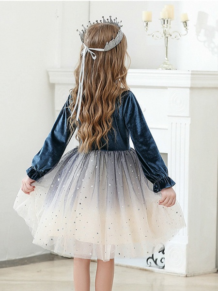 Princess / Ball Gown Knee Length Wedding / Party Flower Girl Dresses - Tulle / Velvet Long Sleeve Jewel Neck With Crystals / Paillette_4
