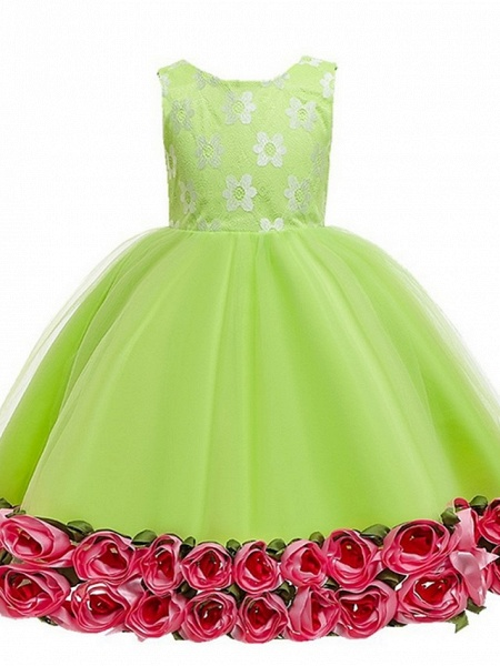 Princess / Ball Gown Knee Length Wedding / Party Flower Girl Dresses - Tulle Sleeveless Jewel Neck With Bow(S) / Pattern / Print / Flower_5