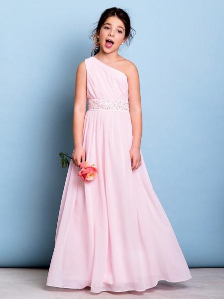 A-Line One Shoulder Floor Length Chiffon Junior Bridesmaid Dress With Sash / Ribbon / Beading / Side Draping / Natural_4