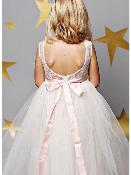 A-Line Floor Length Wedding / Party Flower Girl Dresses - Lace / Satin / Tulle Sleeveless Illusion Neck With Solid_2