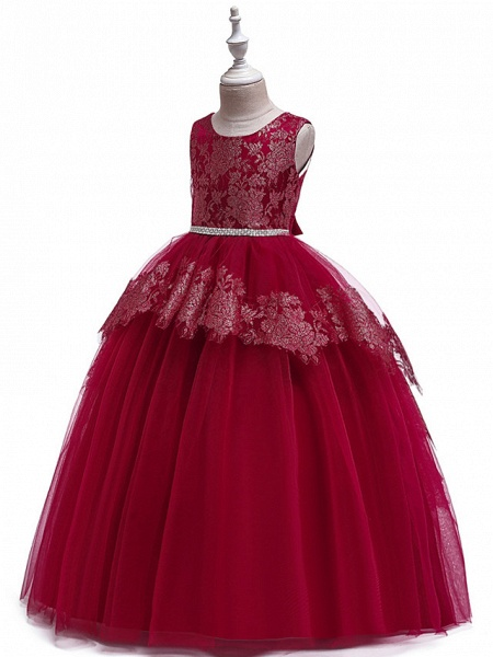 Princess Floor Length Wedding / Party / Pageant Flower Girl Dresses - Lace / Satin / Tulle Sleeveless Jewel Neck With Belt / Crystals / Beading_12