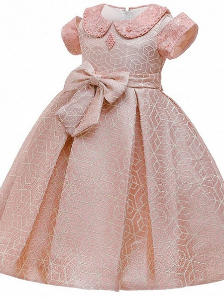 Princess / Ball Gown Knee Length Wedding / Party Flower Girl Dresses - Satin Short Sleeve Jewel Neck With Bow(S) / Beading_2