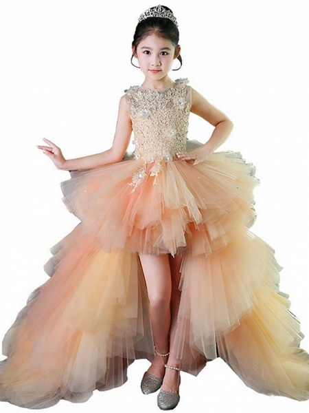 A-Line Asymmetrical Wedding / Pageant Flower Girl Dresses - Tulle Sleeveless Jewel Neck With Tier / Appliques_1