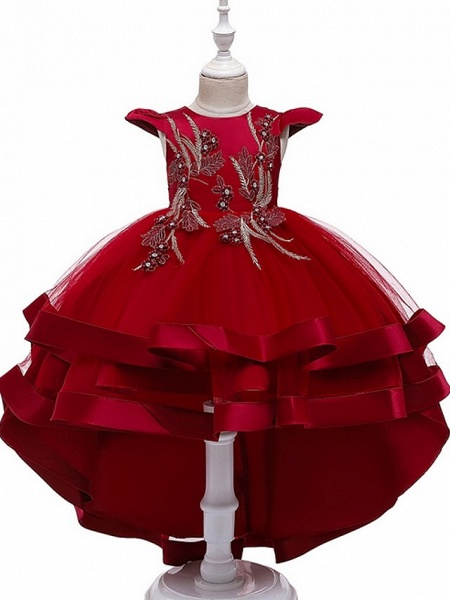 A-Line Asymmetrical Pageant Flower Girl Dresses - Tulle Sleeveless Jewel Neck With Bow(S) / Beading / Tier_5