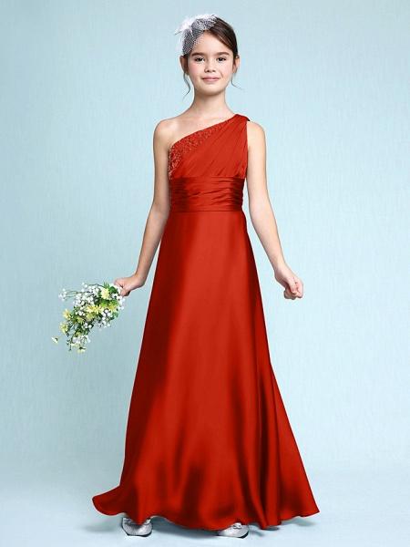Sheath / Column One Shoulder Floor Length Chiffon Satin Junior Bridesmaid Dress With Ruched / Side Draping / Natural_15