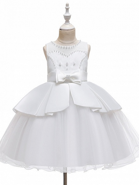 A-Line Knee Length Wedding / Party Communion Dresses - Tulle / Matte Satin / Poly&Cotton Blend Sleeveless Jewel Neck With Lace / Bow(S) / Beading_9