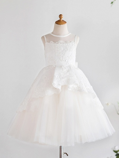 Princess Knee Length Wedding / First Communion / Birthday Flower Girl Dresses - Satin / Tulle Sleeveless Jewel Neck With Bows / Appliques_1