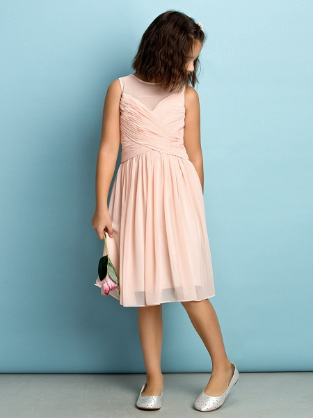 A-Line Jewel Neck Knee Length Chiffon Junior Bridesmaid Dress With Criss Cross / Natural / Mini Me_2
