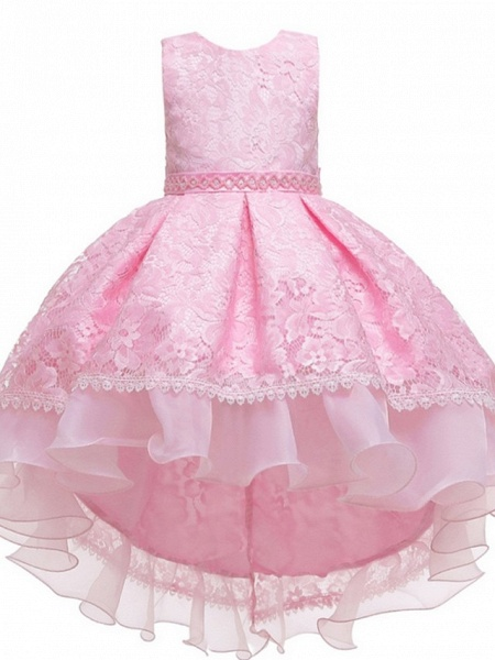 Princess / Ball Gown Floor Length Wedding / Party Flower Girl Dresses - Lace / Tulle Sleeveless Jewel Neck With Sash / Ribbon / Embroidery_8