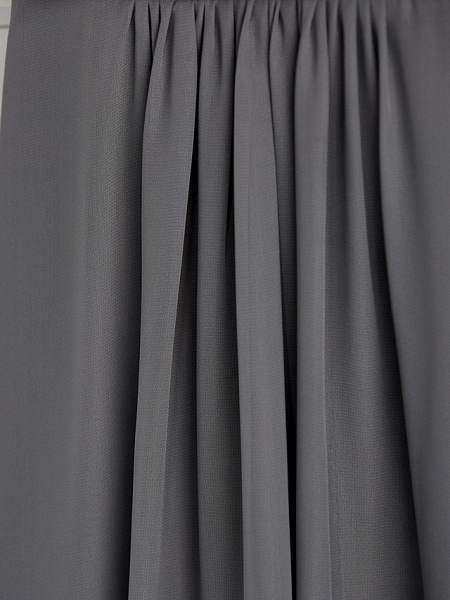 A-Line V Neck Maxi Chiffon Junior Bridesmaid Dress With Ruching_8