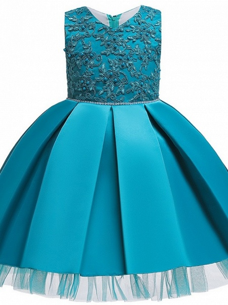 Princess / Ball Gown Knee Length Wedding / Party Flower Girl Dresses - Tulle Sleeveless V Neck With Sash / Ribbon / Bow(S) / Appliques_7