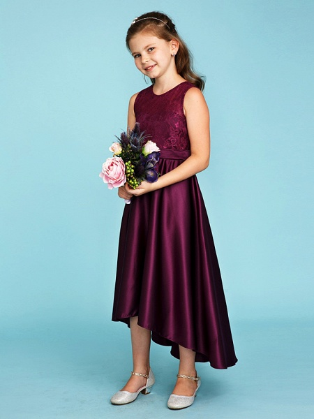 Princess / A-Line Jewel Neck Asymmetrical Lace / Satin Junior Bridesmaid Dress With Sash / Ribbon / Wedding Party / See Through_3