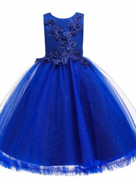 Princess / Ball Gown Knee Length Wedding / Party Flower Girl Dresses - Tulle Sleeveless Jewel Neck With Bow(S) / Beading / Appliques_9