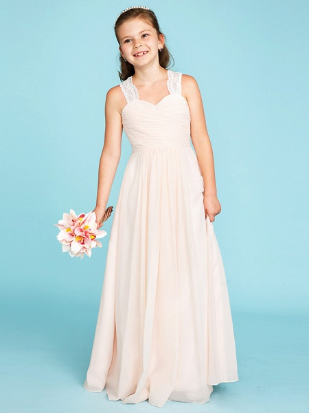 Princess / A-Line Strap Floor Length Chiffon / Lace Junior Bridesmaid Dress With Ruched / Side-Draped / Wedding Party_4