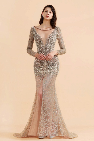 Illusion Neck Beads Champange Pearls High Split Prom Dress