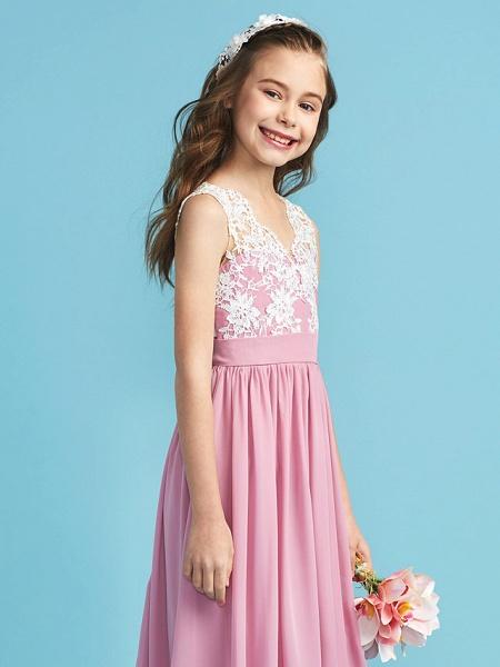 Princess / A-Line Queen Anne Floor Length Chiffon / Lace Junior Bridesmaid Dress With Lace / Sash / Ribbon / Pleats_8