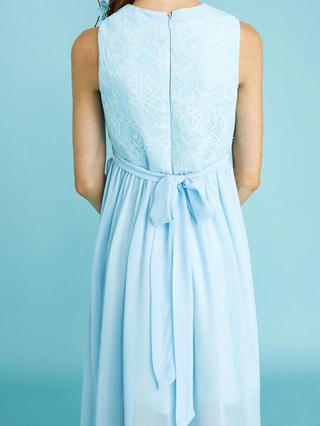 Sheath / Column Jewel Neck Asymmetrical Chiffon / Lace Junior Bridesmaid Dress With Pleats / Natural_11