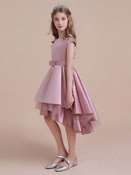 A-Line Asymmetrical Christmas / Birthday / Pageant Flower Girl Dresses - Satin / Tulle Sleeveless Jewel Neck With Side Draping_2