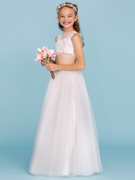 Princess / A-Line Bateau Neck Floor Length Lace / Tulle Junior Bridesmaid Dress With Pearls / Appliques / Beautiful Back / Wedding Party / See Through_5