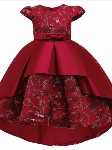 Ball Gown Ankle Length Pageant Flower Girl Dresses - Polyester Short Sleeve Jewel Neck With Appliques_1