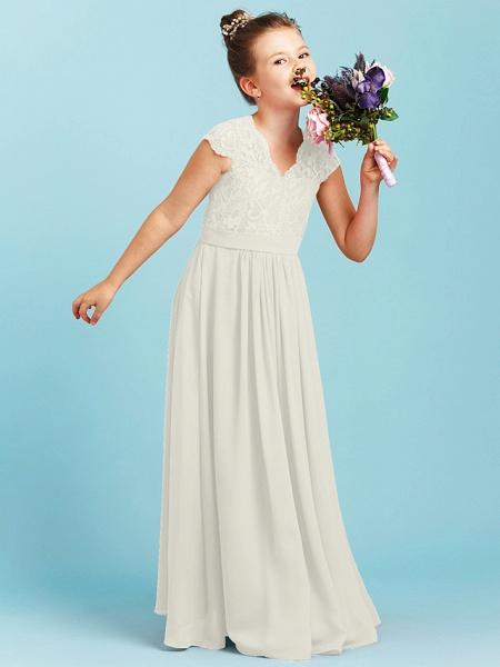 Princess / A-Line V Neck Floor Length Chiffon / Lace Junior Bridesmaid Dress With Sash / Ribbon / Pleats / Wedding Party_49