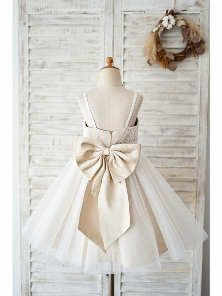 Ball Gown Knee Length Wedding / Birthday Flower Girl Dresses - Lace / Tulle Sleeveless Spaghetti Strap With Bow(S)_2