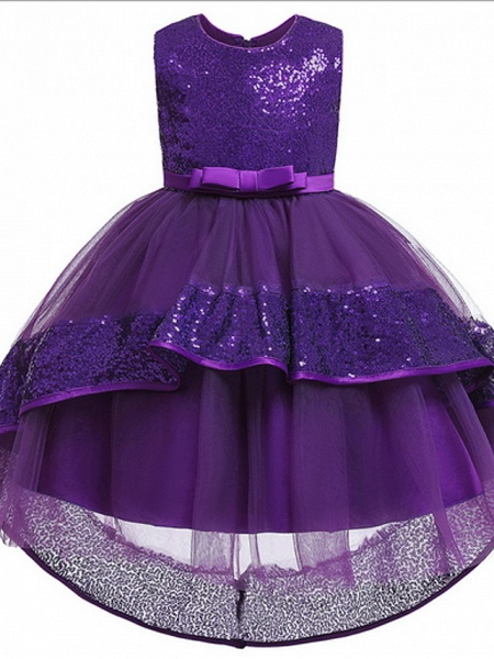 Ball Gown Ankle Length Pageant Flower Girl Dresses - Polyester Sleeveless Jewel Neck With Bow(S) / Appliques_4